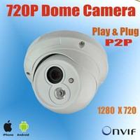 Play&Plug P2P 1/3'' CMOS 720P Network IP camera, 1.0 Megapixel  Dome IP Camera, Array LED,20m IR distance,Support ONVIF, POE