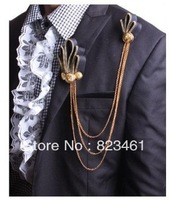 Free Shipping Groom boutonniere Cool punk style, golden zipper tassel brooch corsage Wedding Decorations