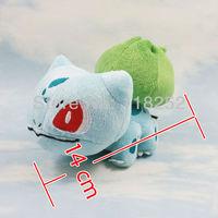 Best Selling 5.5 inch Japanese Cartoon Anime Pokemon Bulbasaur Baby Animal Stuffed Plush Doll Child Toy For Gift Free Shipping