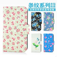 Holster leather flip Bling diamond Lovely lip flower grass natural protective cover case for THL W6
