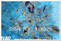 Sky Blue gauze embroidery sequin  paillette gold thread lace cheongsam diy handmade fabric