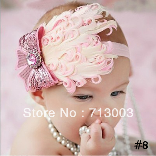 Free Shipping Baby Headbands Feather Headwear Christmas Hair Clip Newborn hairband(China (Mainland))