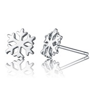 Free Shipping Min. Order 1doz, 12pcs/lot, 925 Sterling Silver Romantic Snowflake Stud Earrings--Winters' Lover