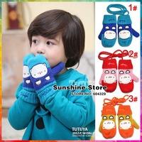 Sunshine store #2G0001  5 pair/lot(3 colors)children gloves winter animal toddler Knitte Mittens kids cat wool/fleece lined CPAM