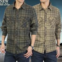 2013 new fall jeeprich cotton plaid long-sleeved shirt male long-sleeved shirt Men 8325