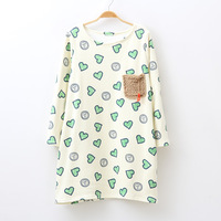 Free Shipping 2013 women's plush pocket love print fleece thickening loose one-piece dress