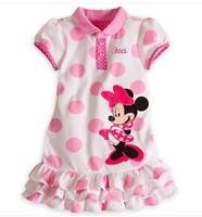 Drop Shipping(5pcs/lot) 100% Cotton Girls Polka dots Minnie Mouse Dresses baby Girls Fashion Cute dresses Minnie Dresses