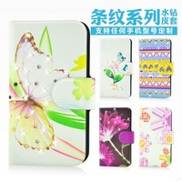 Holster leather flip Bling diamond Lovely lip flower grass natural protective cover case for THL V8