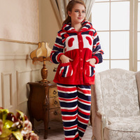 Sleepwear autumn and winter thickening stripe long-sleeve female mink super soft coral fleece set lounge