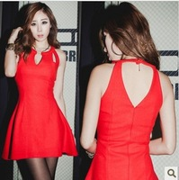2013 summer women's sexy strapless sleeveless V-neck racerback expansion bottom tank dress one-piece dress