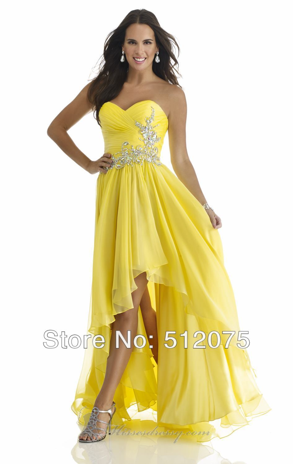 Yellow Evening Dresses Chiffon 42