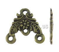 Free shipping!!!Zinc Alloy Connector,2013 Fashion Jewelry, Triangle, antique bronze color plated, 1/3 loop, nickel