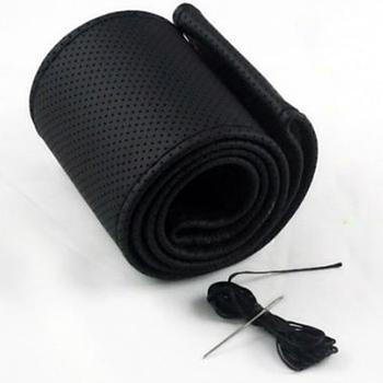 1 шт. бесплатная доставка искусственная кожа DIY авто руль черный / серый / бежевый с иглы и нитки