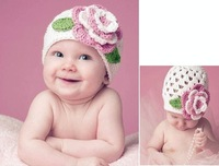 Free shipping !  Baby crochet hat children flower hat handmade cotton string knit cap 1pc/lot