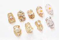 False Nail ,High-grade alloy nail art ,Metal Set rhinestone hollow-out decorative, free shipping
