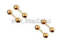 Free shipping!!!Stainless Steel Straight Barbell,Cheap, 316L Stainless Steel, gold color plated, 5mm, 70PCs/Lot, Sold By Lot