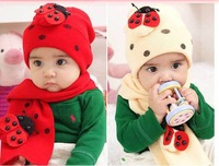 Hot!!_Baby lovely hat scarf two woolly beetle children's hat 10pcs
