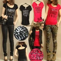 2013 women's fashion formal o-neck letter short-sleeve slim modal T-shirt