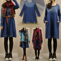 2013 women's basic gradient denim blue loose long-sleeve sweatshirt one-piece dress