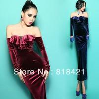 ruffle sexy slit neckline strapless placketing velvet full dress