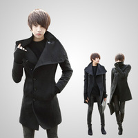 2013 autumn men's clothing Men casual overcoat slim medium-long woolen trench male outerwear
