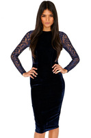 Free shipping + Navy Velvet Lace Detail Midi Dress LC6224