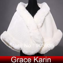 2015 GK avorio scialle di pelliccia del faux di nozze giacca invernale caldo sposa sposa echarpe avvolgere capo tippet cl4943 accessori da sposa elegante(China (Mainland))