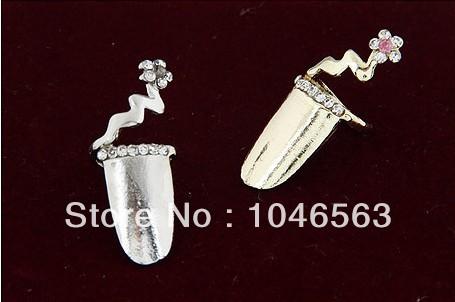 Min10$(mixed styles) Korean Fashion Personalized Fingernail Flower Crystal Rhinestone Studded Gem Ring Free Shipping(China (Mainland))