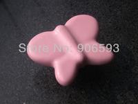 24pcs lot free shipping Pink porcelain sweet pink butterfly cartoon cabinet knob\porcelain handle\porcelain knob