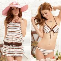 Stripe Dress Beach Wear+Swim Wear three-piece W5084