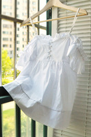 2013 spaghetti strap tube top princess sleeve slit neckline small strapless cotton cloth white cute top shirt
