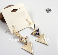 2013 new fashion  gold \ silver shell  long section of the triangle  earrings ,16pairs/lot  free shipping
