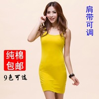 All-match long design slim hip 100% cotton slim spaghetti strap tank top sleeveless dress female basic small vest casual