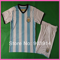 2015 Factory Price Embroidery Logo Argentina Home Child Soccer Kits, Original Quality Argentina 14/15 Kids Kits,Mix Order