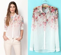 New 2014 women clothing Lapel Collar Flowers printed Chiffon blouses Long Sleeve Shirts blusas femininas free shipping