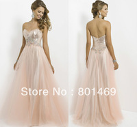 Classic 2014 Light Apricot A line Prom Dresses Sweetheart Sleeveless  Beaded Rhinestone Sequin Bodice Ruched Tulle  Evening Gown