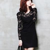 Drop shipping New 2014 Spring and Autumn Women Sex Lace Cotton Casual Lace Dress S M L XL XXL XXXL XXXXL