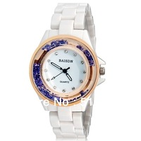 Baisdn Women Analog Watch with Ball Crystal Decoration Ceramic Strap fashion watch