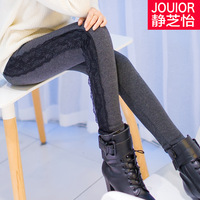 Autumn and winter plus velvet thickening women's lace warm leggings trousers women plus size jeggings