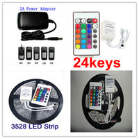 RGB Non-Waterproof 5M 3528 Led Strip Flexible Light 60led/m 300 LED SMD DC 12V+24 key remote+ 2A Power Supply free shipping