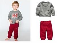 2014 free shipping Retail 1 pcs Top Quality! baby boy/girl fashion cotton t-shirt+pants 2pcs suits kids letters printed garment