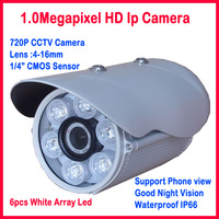 ONVIF 1.0 MP IP Camera outdoor 6pcs array IR led 50M 4-16mm lens H.264 Surveillance Securiy Webcam Motion detection