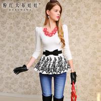 Lovable Secret - T-shirt female long-sleeve 2013 white black bow lace print slim t-shirt  free shipping