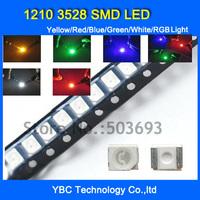 Free Shipping 1210 3528 SMD LED 6colorx200pcs=1200pcs White/Blue/Red/Yellow/Green/RGB Light  Diode Kit Pack