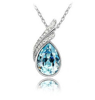 AN358 Cheap Jewelry Promotion Austria Crystal Water Drop Pendants Necklace Beautiful Twist Charms Necklace