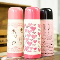Hearts . fashion child women's stainless steel vacuum cup cartoon portable sports water cup