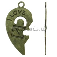 Free shipping!!!Zinc Alloy Heart Pendants,hot sale, antique bronze color plated, for couple, nickel, lead & cadmium free