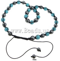 Free shipping!!!rhinestone pave bead Shamballa Necklace,New 2013 Jewelry, with Nylon Cord & Non-magnetic Hematite, 10mm, 8mm