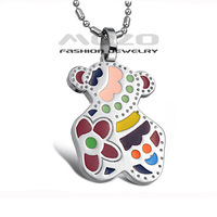 Wholesale 2014 HOT SALE New Fashion Jewelry Little Bear color cute Style girls chain Pendant Necklace for women TY570