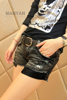 Black patchwork leather ripped pants jean shorts for women 2013 summer cowboy skull Slim denim shorts free shipping YQ05058